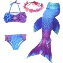 Shiny Toddler 3PCS Girls Swimmsuit Mermaid Tail for Swimming Fashion Bikini Set Halloween Costume