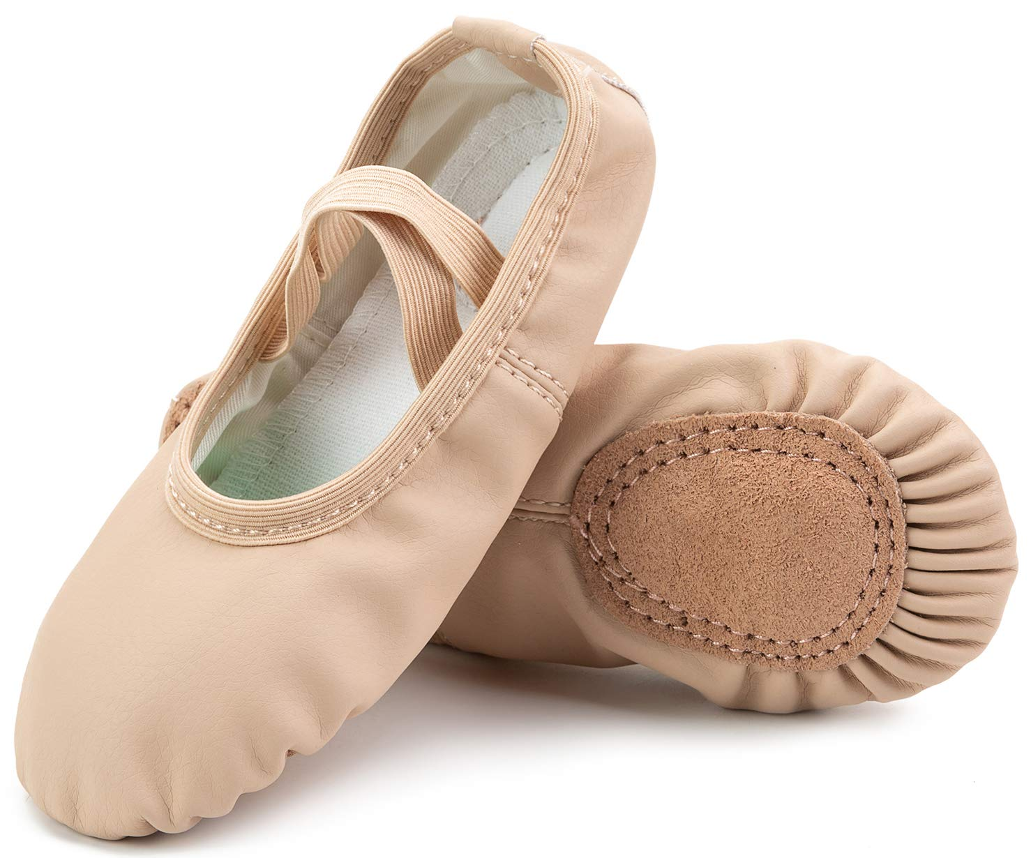 Scurtain Girls Leather Ballet Shoes Full Sole Yoga Shoes/Dance Shoes(Toddler/Little Kid/Big Kid/Women)