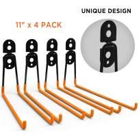 ORASANT Garage Hooks Enhanced Version, 11Inches Larger Garage Storage Hooks 4-Pack, Steel Utility Double Hooks, Heavy Duty for Organizing Power Tools, Ladders, Bulk items, Bikes, Ropes etc. (Orange)