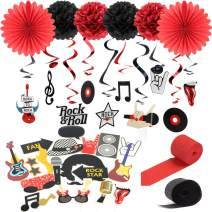 """Rock and Roll"" String Decoration Music Party Sock Hop Party Hanging Swirls Decoration Kit Black Red Color SUNBEAUTY"