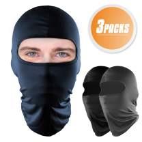 YR UV Protection Balaclava Face Mask, Cycling Motorcyle Face Cover, Ski Hiking Neck Hood Full Face Mask, Quick-Dry Sport Balaclavas, 3 Packs.