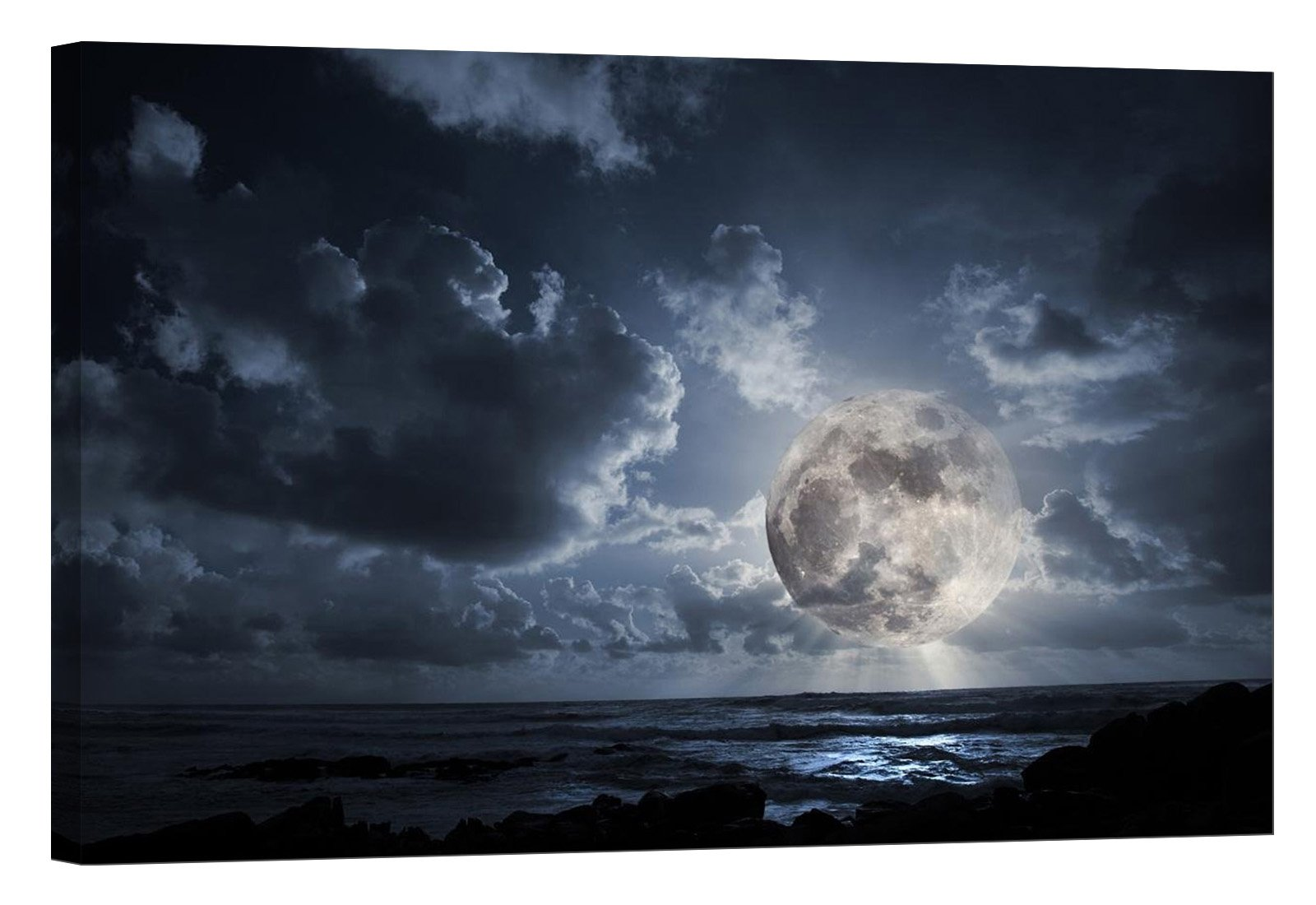 LightFairy Glow in The Dark Canvas Painting - Stretched and Framed Giclee Wall Art Print - Scenery Landscape Outdoor Fantastic Moon - Master Bedroom Living Room Décor - 36 x 24 inch
