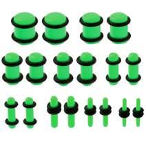 BodyJ4You 18PC Gauges Kit Acrylic Taper Plug 14G-00G Ear Stretch Set Double O-Ring Piercing Jewelry