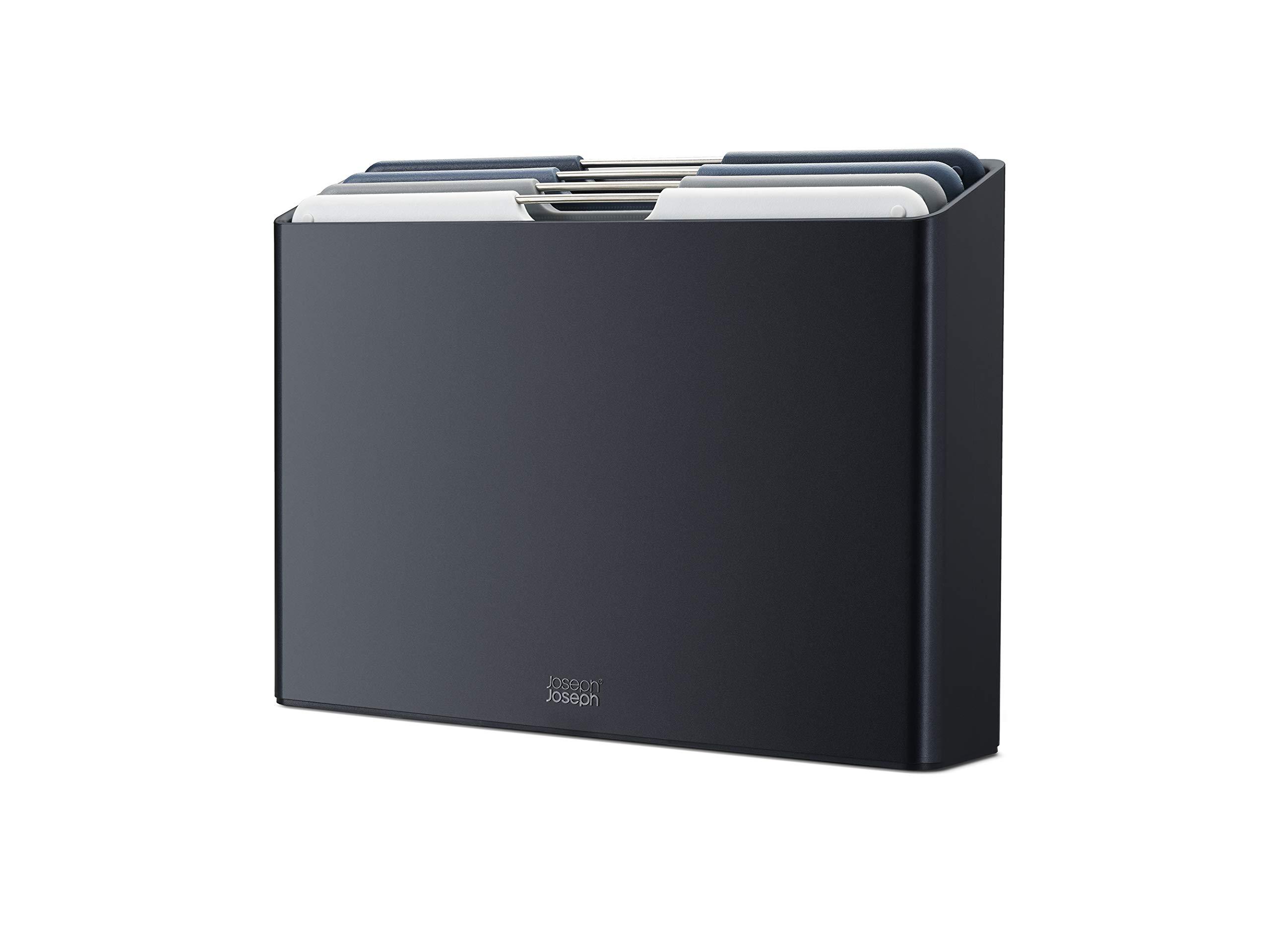 Joseph Joseph Folio Plastic Cutting Board Set with Storage Case Color-Coded Easy-Access Design Dishwasher Safer Non-Slip, Large, Graphite
