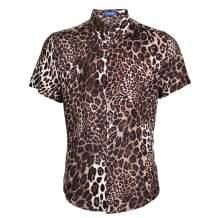 LOGEEYAR Men Shirt Leopard Snakeskin Print Button Down Short Sleeve Casual Shirt