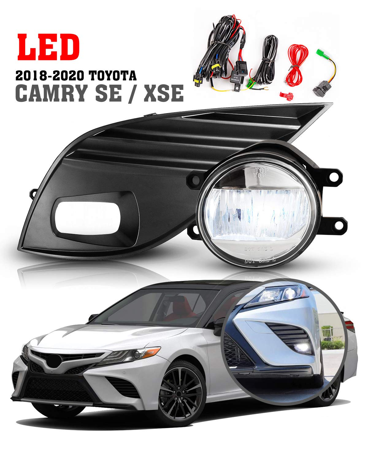 LED Fog Lights For 2018 2019 2020 Camry SE XSE(not for hybrid model) Driving Lamp Assembly included Wiring Kit & Switch 1 Pair- (Clear Glass Lens)