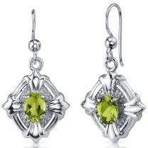 Peora Victorian 1.50 Carats Peridot Dangle Earrings Sterling Silver