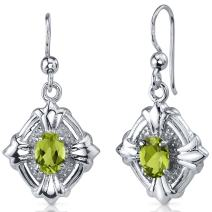 Peora Victorian 1.50 Carats Peridot Dangle Earrings Sterling Silver