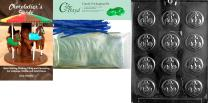 """Cybrtrayd""""Anchor Mints"""" Nautical Chocolate Mold with Chocolatier's Bundle, Includes 50 Cello Bags and 50 Blue Twist Ties"""
