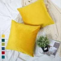 YINFUNG Bright Yellow Velvet Pillow Covers 18x18 Decorative Colored Pop Vibrant Spring Decor Couch Bed Toss Pillow Cases Soft Cozy 2 Pack Girls Kids Bedroom Cushion Cover Lemon