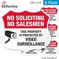 SmartSign No Soliciting Sticker, No Soliciting No Salesman This Property is Protected by Video Surveillance Label Set   3M Engineer Grade Reflective Labels, Pack of 5
