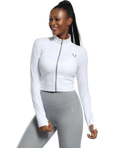 Firm ABS Women's Running Jacket Zipper Nude Lightweight Top Skin Coat Jogging Gym Yoga Dance Soft