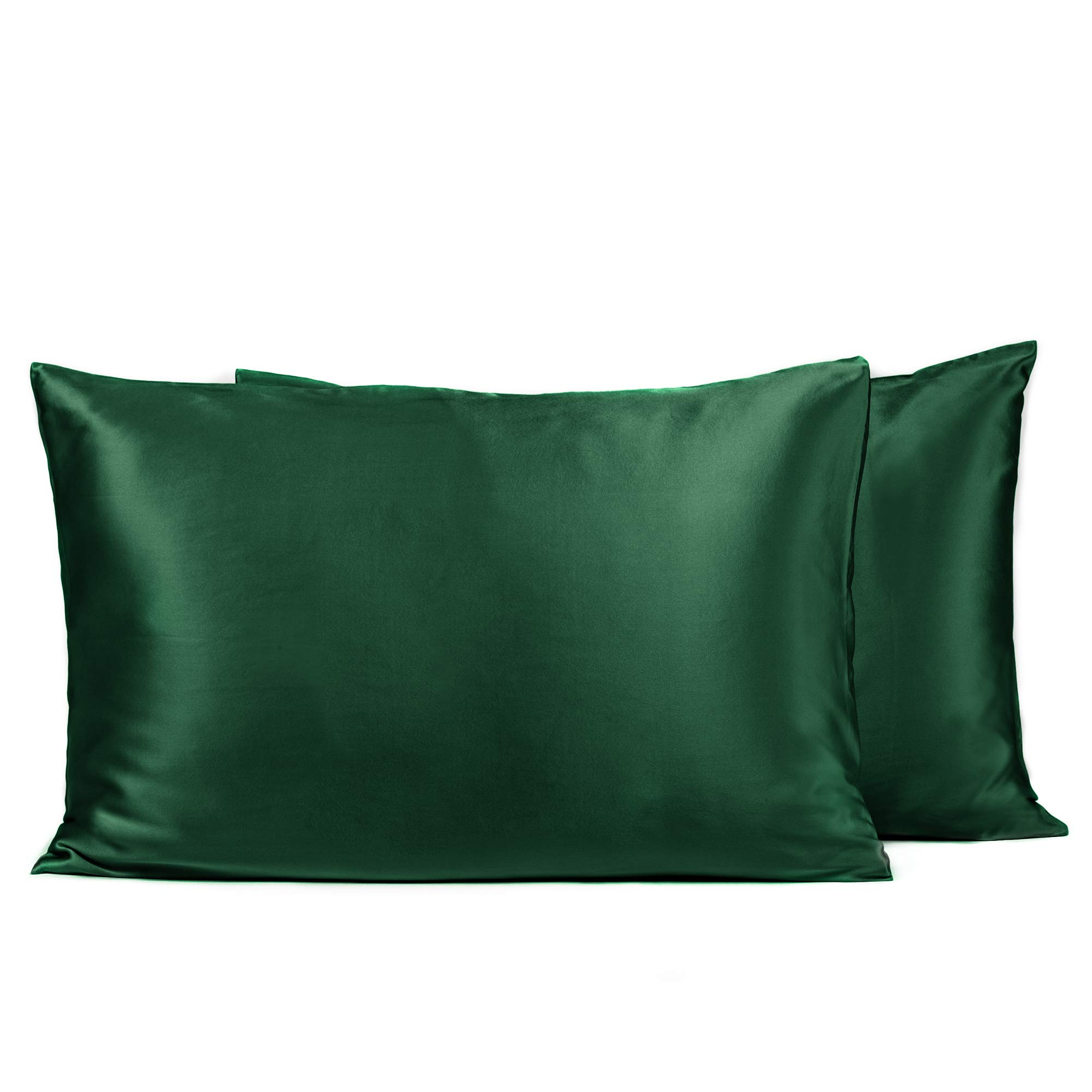 Fishers Finery 25mm 100% Pure Mulberry Silk Pillowcase, Good Housekeeping Winner (Dark Green, Queen 2 Pack)