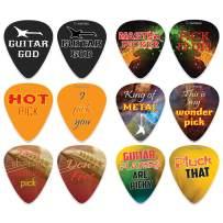 Funny Sayings Guitar Picks (12-Pack) - Music & Guitar Accessories for Men Him Husband Dad Boyfriend Son Boys Musician Gift – Medium Gauge Celluloid - Fingerstyle Guitar Picks
