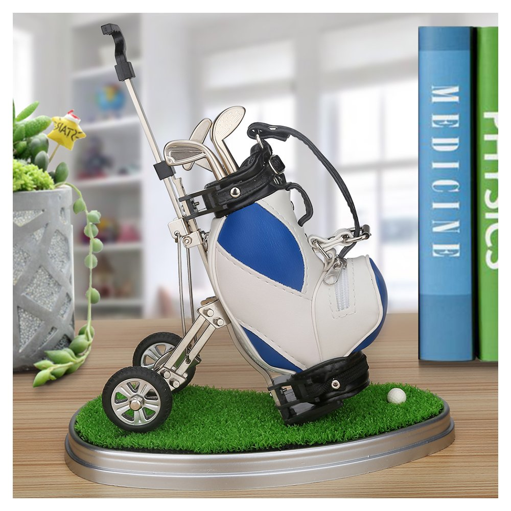 10L0L Golf Pens with Golf Bag Holder, Novelty Unique with 3 Pieces Aluminum Pen for Golf Fanatic, Excellent Office Desk Display for Golfer Boss Coworker Husband Men Father Boyfriend