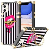 WOLLONY for iPhone 11 Case with Kickstand Ring Holder Square Edge for Hippie Women Girl Retro Elegant Striped Soft Protective Case Metal Reinforced Corners Shockproof Cover for iPhone 11 6.1inch Lip