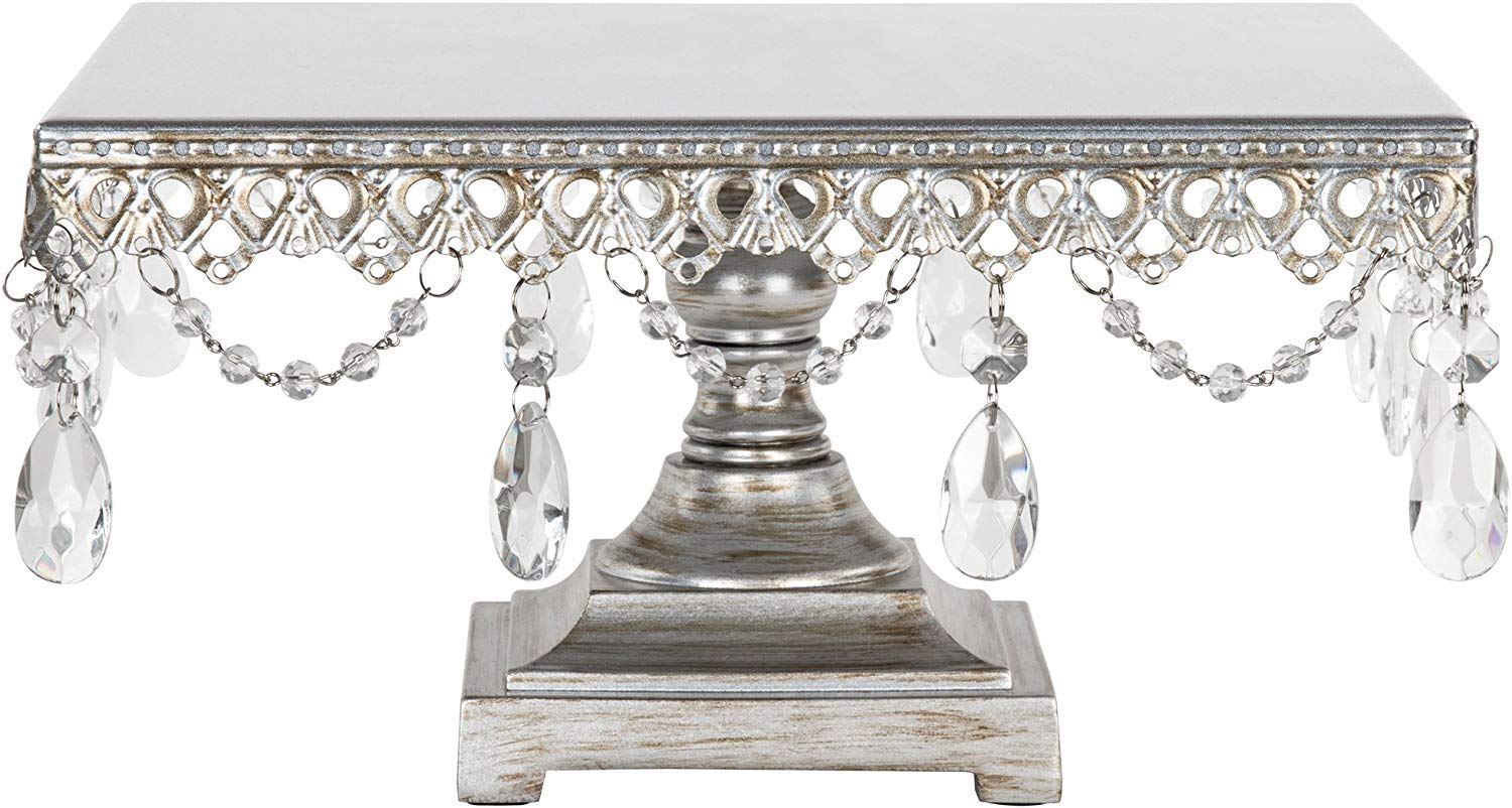 Amalfi Decor 12 Inch Square Cake Stand, Dessert Cupcake Pastry Candy Display Plate for Wedding Event Birthday Party, Metal Pedestal Holder with Crystals, Silver
