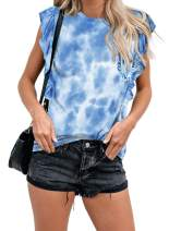 Lovezesent Womens Summer Sleeveless Casual Tie Dye T Shirts Ruffle Tank Tops
