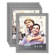 Icona Bay 8x10 Picture Frame Set (Gray, 4 Pack) Simple Modern Design, Table Top Kickstand and Wall Hanging Hooks Included, Impresia Collection