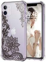 Audimi Case for iPhone 11 Flower Lace Design Shockproof Clear Hard PC+TPU Bumper Protective Cover Case for iPhone 11 6.1 Inch (Black Lace)