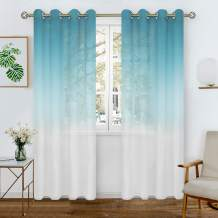BGment Faux Linen Ombre Sheer Curtains for Living Room, Grommet Semi Voile Light Filtering and Privacy Curtains for Bedroom, Set of 2 Panels ( Each 52 x 72 Inch, Blue )
