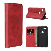 Cavor Pixel 3a XL Case, PU Leather Wallet Case Cover [Card Slot] [Built-in Magnet] Shockproof Protective Flip Case for Google Pixel 3a XL - Red