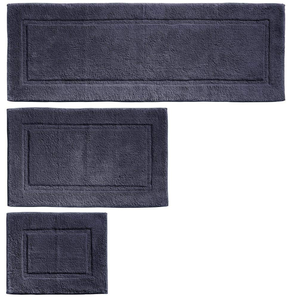 mDesign 100% Cotton Luxury Spa Mat Rugs, Plush Water Absorbent, Decorative Border - for Bathroom Vanity, Bathtub/Shower, Machine Washable - Runner, Standard & Small Rug - Set of 3 - Navy Blue