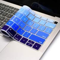 """ProElife Blue Gradient Keyboard Cover Ultra Thin Silicone Keyboard Protective Skin for MacBook Air 13"""" 13.3-Inch with Touch ID (A1932, 2018 2019 Release) (NOT FIT 2020 Version) (Ombre Blue)"""