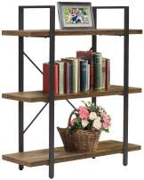Sorbus Bookshelf 4 Tiers Open Vintage Rustic Bookcase Storage Organizer, Modern Industrial Style Book Shelf Furniture for Living Room Home or Office, Wood Look & Metal Frame (3-Tier, Retro Brown)
