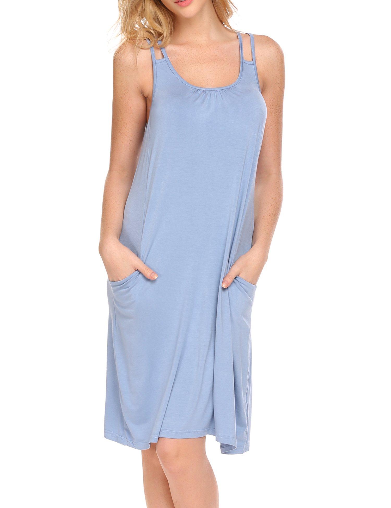 Hotouch Women Sleeveless Nightgown Cami Sleepwear Sleep Dress Nightgowns with Pocket