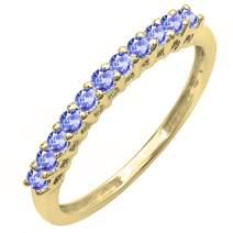Dazzlingrock Collection 10K Round Gemstone Anniversary Stackable Wedding Band, Yellow Gold