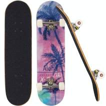 """Sumeber Skateboards for Girls Teens Beginners 31"""" x 8"""" inch Pro Complete Standard Skateboard Double Kick 7 Layer Canadian Maple Deck Cruiser Skate Boards for Kids Boys Girls Gifts"""