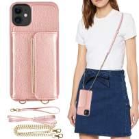 iPhone 11 Wallet Case, iPhone 11 Crossbody Case, ZVEdeng iPhone 11 Case with Credit Card Holder Wrist Strap Kickstand Shockproof Crossbody Bag Handbag Purse Leather Case-Rose Gold