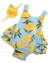 PrinceSasa Baby Girl's Floral Print Ruffles Romper Summer Clothes with Headband