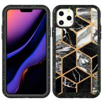 Valetoo iPhone 11 Pro Max Case Gold Geometric Black Marble Full-Body Hybrid Rugged Bumper Shockproof Protective Cover Case for iPhone 11 Pro Max 6.5 Inch