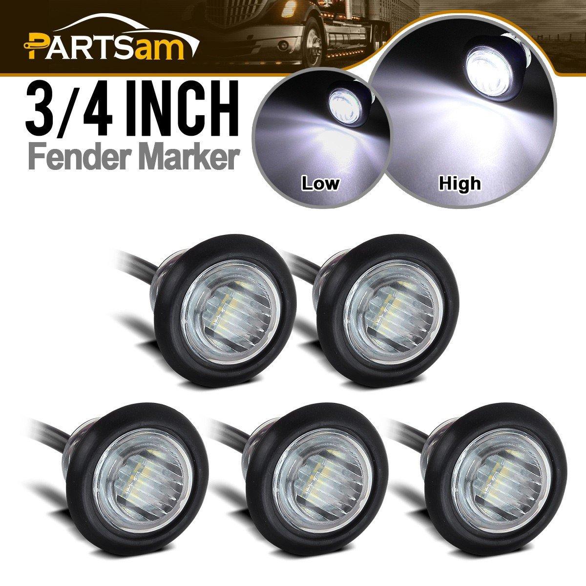 """Partsam 5pcs Truck Trailer White 3/4"""" Side Marker Light Clearance Stop Turn Tail Brake light LED Clear Lens"""