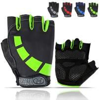 HUNSUETEK Cycling Gloves for Men/Women/Juniors, Half-Finger Bike Workout Ideal Biking Gym MTB Gloves for Motorcycle/Mountain Bike, 5mm Padded Anti Slip Gloves for Outdoor Road Bicycle, Dirt Bike