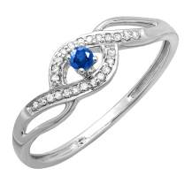 Dazzlingrock Collection 10K Round Cut Blue Sapphire and White Diamond Ladies Engagement Bridal Promise Ring, White Gold