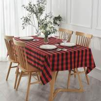 maxmill Rectangle Checkered Tablecloth Waterproof Spillproof Wrinkle Resistant Buffalo Plaid Heavy Weight Table Cloth Gingham Table Cover for Outdoor and Indoor Use, 52 x 70 Inch Black and Red
