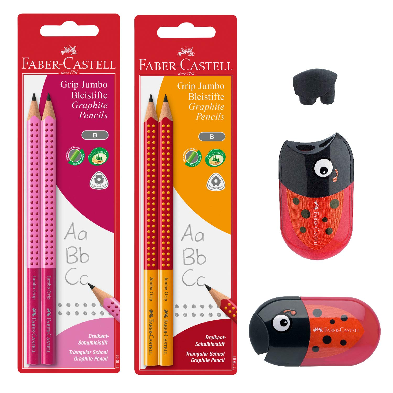 Faber-Castell Jumbo Graphite Pencil Back to School Set - 4 Jumbo Pencils (Pink/Orange) & Ladybug Pencil Sharpener, Multi