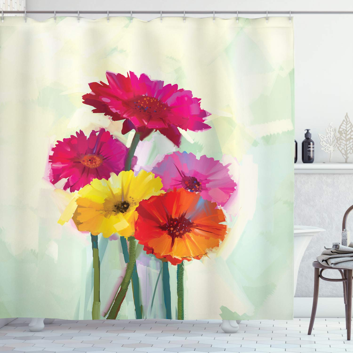 """Ambesonne Gerber Daisy Shower Curtain, Posy of Spring Flowers Oil Painting Style Impressionist Still Life Art Theme, Cloth Fabric Bathroom Decor Set with Hooks, 75"""" Long, Yellow Pink"""
