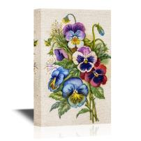 wall26 - Pansy Flower Canvas Wall Art - Colorful Watercolor Pansy Flowers - Gallery Wrap Modern Home Decor   Ready to Hang - 12x18 inches