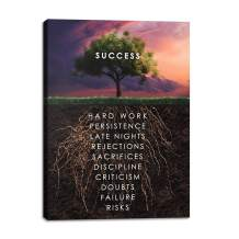 """Yetaryy Success Tree Motivational Wall Canvas Print Office House Decor Modern Art Root Inspiration Decoration Motivation Inspire Entrepreneur Framed for Home Ready to Hang - 18"""" Wx24 H"""