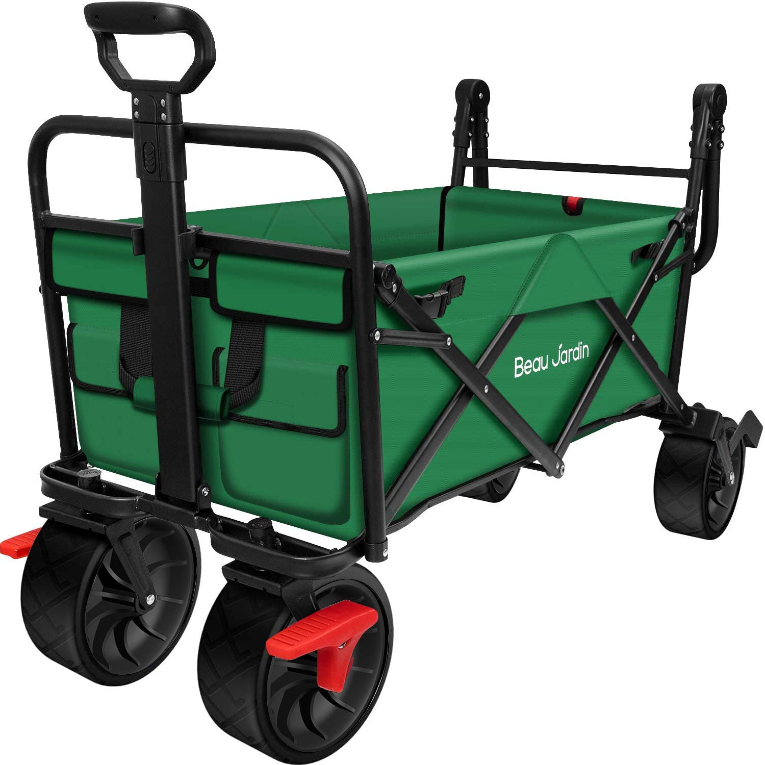 BEAU JARDIN Folding Wagon Cart With Brake Free Standing Collapsible Utility Camping Grocery Canvas Fabric Sturdy Portable Rolling Buggies Outdoor Garden Sport HeavyDuty Shopping Cart Push Wagon Green