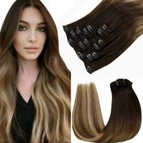 Human Hair Ombre Clip in Extensions LaaVoo Hair Extensions Clip in Human Hair Dark Brown to Ash Blonde Mixed Brown Clip in Human Hair Extensions 18 Inch Remy Clip Hair Extensions 7pcs/120g