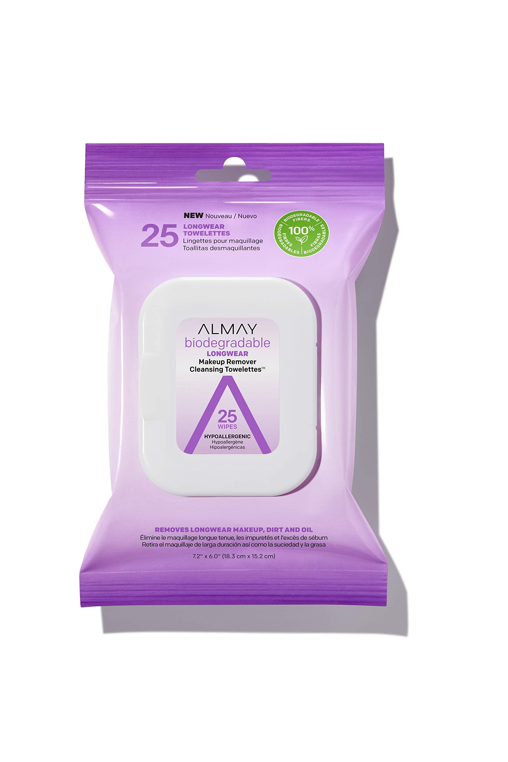 Almay Biodegradable Longwear Makeup Remover Cleansing Towelettes, Hypoallergenic, Cruelty Free, Fragrance free, Dermatologist Tested, 25 Makeup Remover Wipes