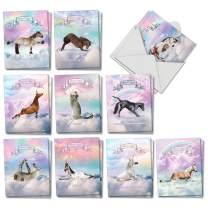 The Best Card Company - 20 Blank Yoga Animal Cards (4 x 5.12 Inch) - All Occasion Kids Set (10 Designs, 2 Each) - Rainbow Unicorn Yoga AM3198OCB-B2x10