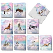 The Best Card Company - 20 Blank Yoga Animal Cards (4 x 5.12 Inch) - All Occasion Kids Set (10 Designs, 2 Each) - Rainbow Unicorn Yoga AM3198OCB-B2x10