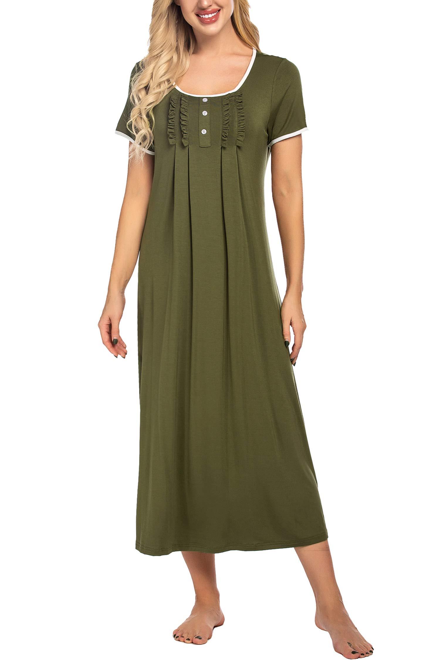 Hotouch Women's Nightgowns, Ultra Soft Summer Short Sleeve Dress Loungewear for Home Outdoor