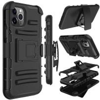Yunerz Compatible iPhone 11 Pro Max Case, Yunerz Holster Heavy Duty Shockproof Full-Body Protective Hybrid Case Cover with Swivel Belt Clip and Kickstand for iPhone 11 Pro Max 2019 6.5inch(Black)
